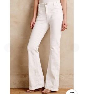 NWT Anthropologie White High-Rise Flare Jean